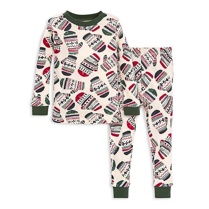 Alternate image 1 for Burt's Bees Baby® 2-Piece Merry Mittens Organic Cotton Toddler Pajama Set