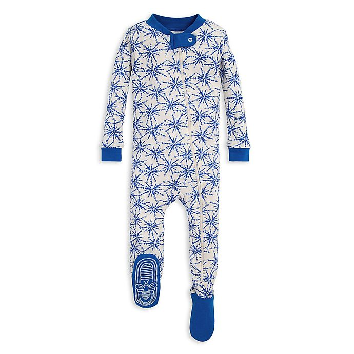 Alternate image 1 for Burt's Bees Baby® Icy Snowflakes Organic Cotton Footie in Blue/Ivory