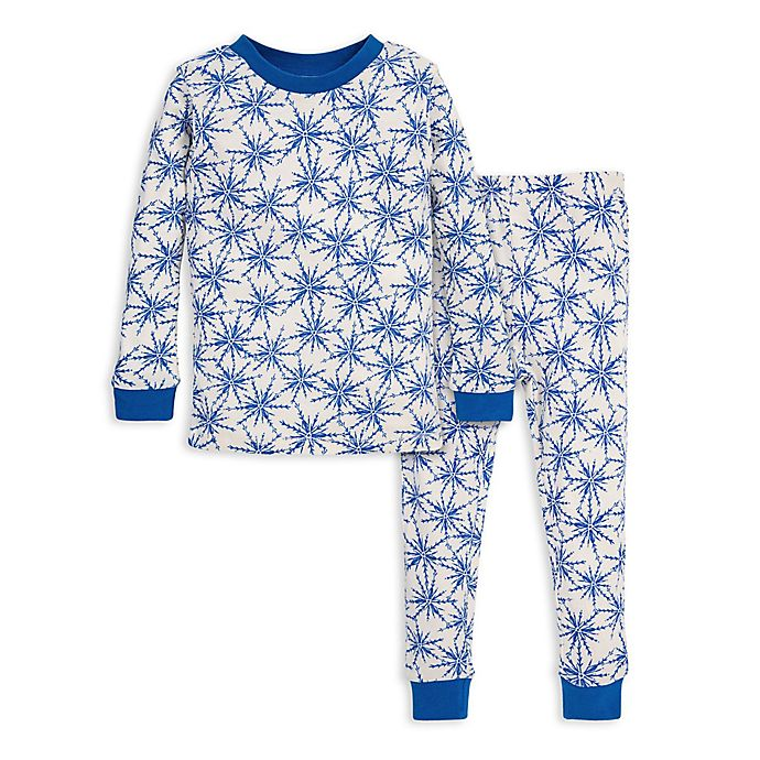 Alternate image 1 for Burt's Bees Baby® Icy Snowflakes Organic Cotton Toddler Pajama Set in Blue/Ivory