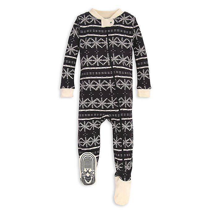 Alternate image 1 for Burt's Bees Baby® Frozen Fair Isle Organic Cotton Sleeper in Black/Ivory