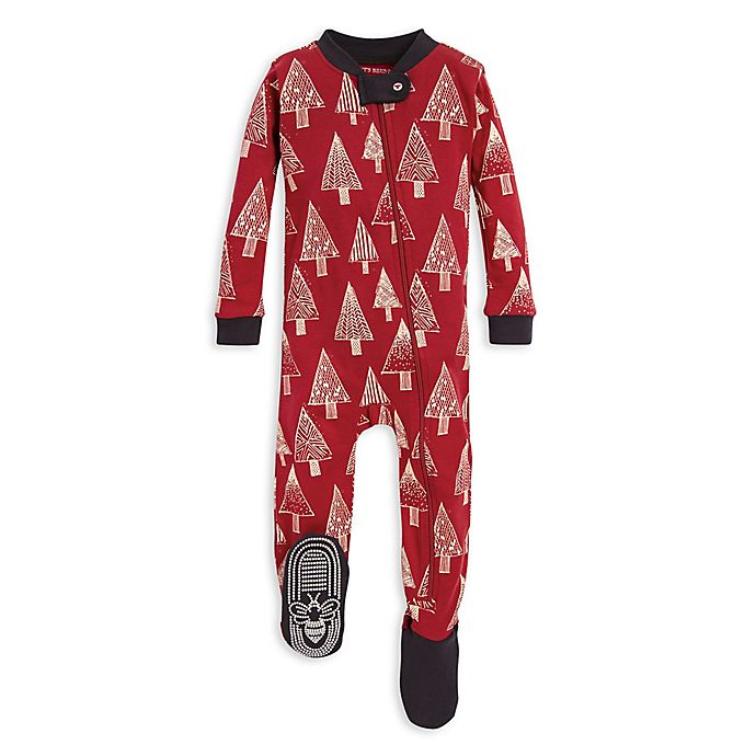 Alternate image 1 for Burt's Bees Baby® Festive Forest Organic Cotton Sleeper in Red/Ivory