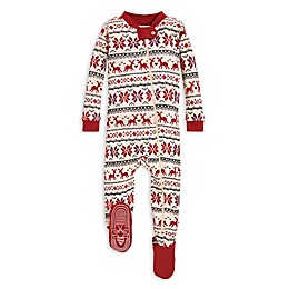 Burt's Bees Baby® Dashing Deer Fair Isle Organic Cotton Sleeper in Red/Ivory