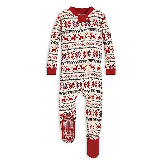Alternate image 1 for Burt's Bees Baby® Dashing Deer Fair Isle Organic Cotton Sleeper in Red/Ivory