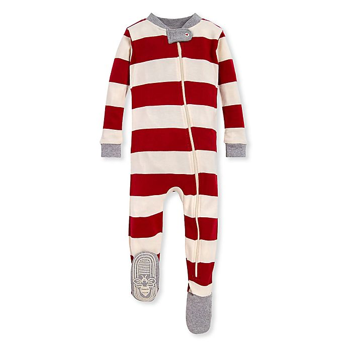 Alternate image 1 for Burt's Bees Baby® Rugby Stripe Organic Cotton Sleeper in Red/Ivory