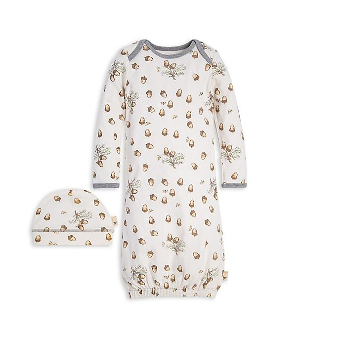 Alternate image 1 for Burt's Bees Baby® Size 0-6M 2-Piece Acorn Organic Cotton Gown and Cap Set