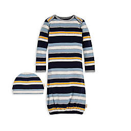Burt's Bees Baby® Size 0-6M 2-Piece Striped Organic Cotton Gown and Cap Set in Navy