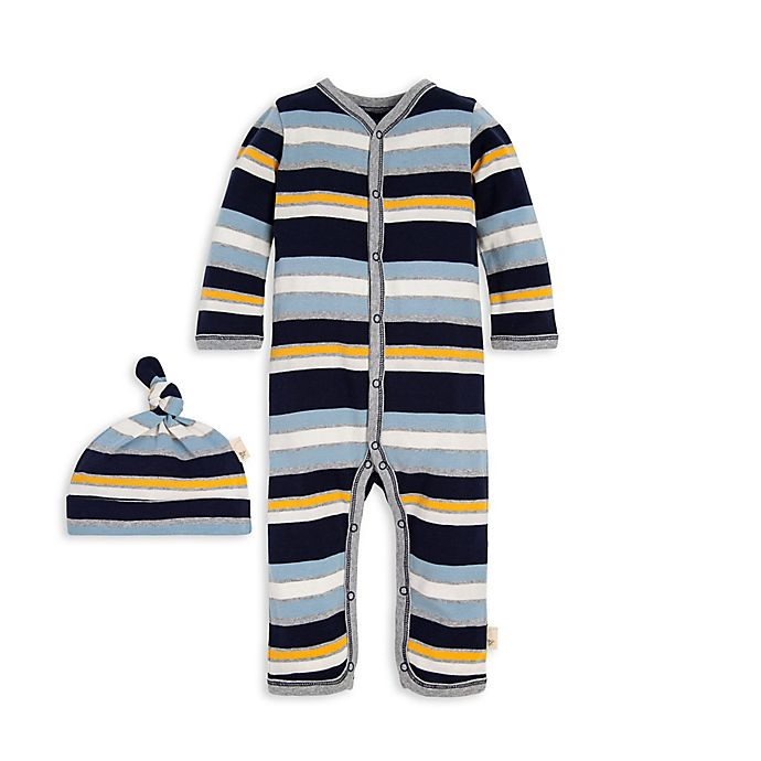 Alternate image 1 for Burt's Bees Baby® 2-Piece Horizontal Stripe Organic Cotton Coverall and Hat Set