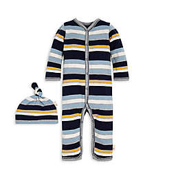 Burt's Bees Baby® 2-Piece Horizontal Stripe Organic Cotton Coverall and Hat Set
