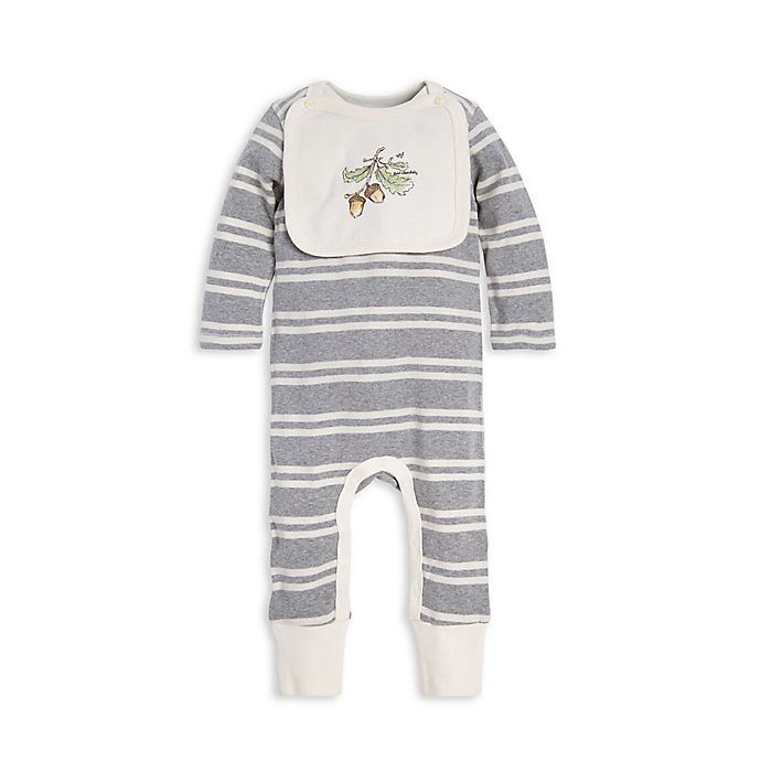 Alternate image 1 for Burt's Bees Baby® Stripe Organic Cotton Coverall with Attached Bib in Grey
