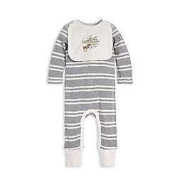 Burt's Bees Baby® Stripe Organic Cotton Coverall with Attached Bib in Grey
