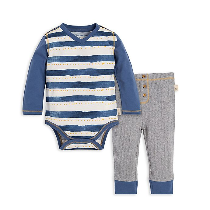 Alternate image 1 for Burt's Bees Baby® 2-Piece Painted Stripe Organic Cotton Bodysuit and Pant Set