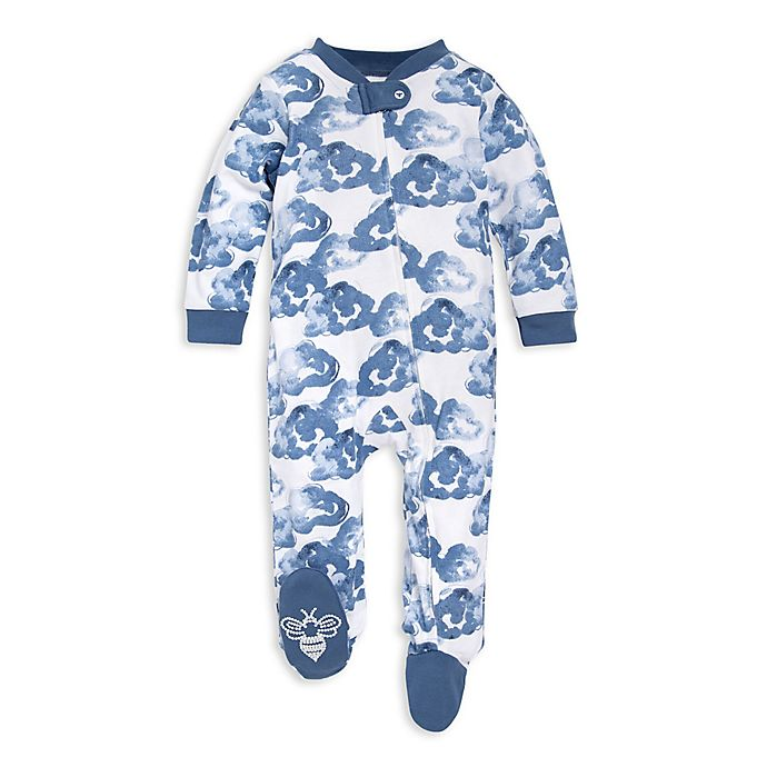 Alternate image 1 for Burt's Bees Baby® Moonlight Clouds Footie in White/Blue