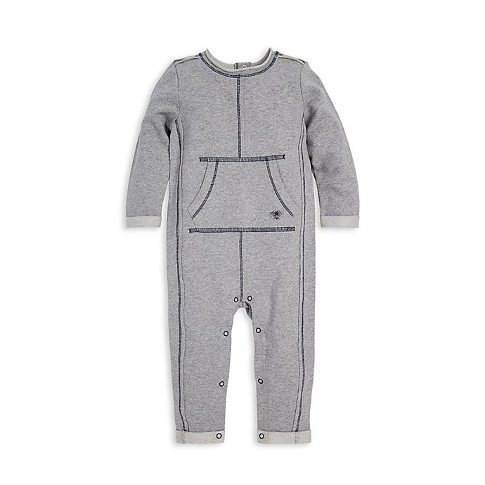Alternate image 1 for Burt's Bees Baby® Raw Edge Organic Cotton Coverall in Grey