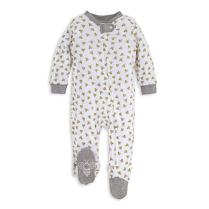 Alternate image 1 for Burt's Bees Baby® Honey Bee Organic Cotton Footie in White/Grey