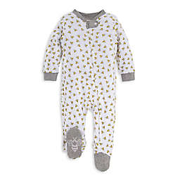 Burt's Bees Baby® Size 3-6M Honey Bee Organic Cotton Footie in White/Grey