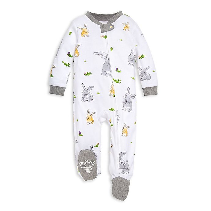 Alternate image 1 for Burt's Bees Baby® Bunny Trail Footie in White