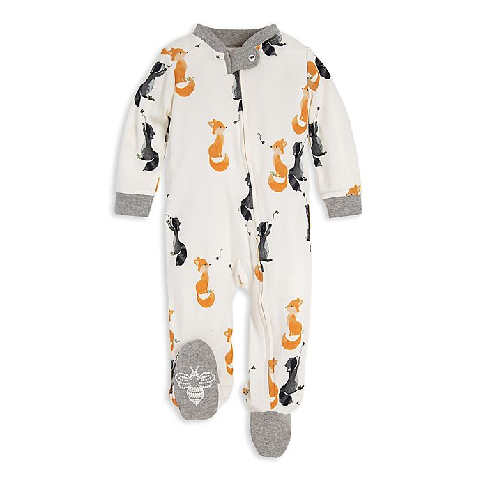 Alternate image 1 for Burt's Bees Baby® Skunk and Fox Organic Cotton Footie in Ivory