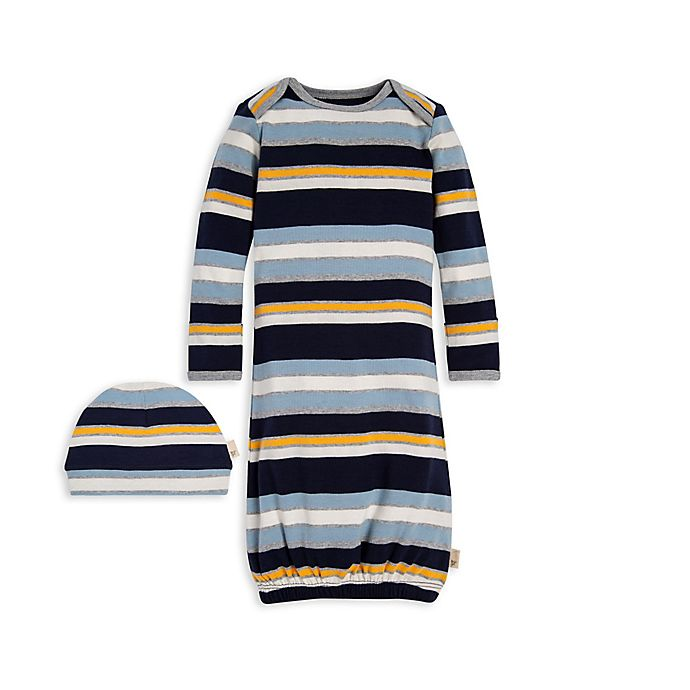 Alternate image 1 for Burt's Bees Baby® Newborn 2-Piece Striped Organic Cotton Gown and Cap Set in Navy