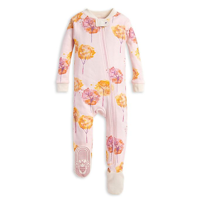 Alternate image 1 for Burt's Bees Baby® Fall Foliage Organic Cotton Toddler Footie in Pink