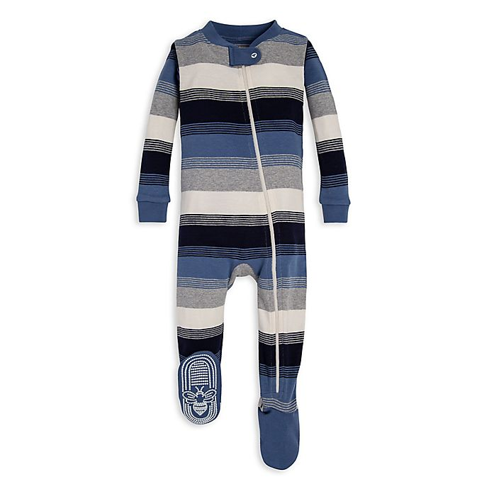 Alternate image 1 for Burt's Bees Baby® Triple Wide Stripe Organic Cotton Toddler Footie in Blue