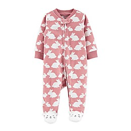carter's® Preemie Bunny Zip-Front Microfleece Sleep & Play Footed Pajama in Pink