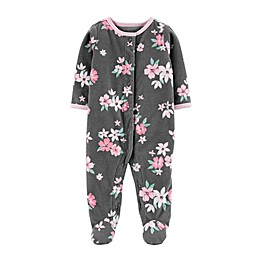 carter's® Preemie Floral Snap-Up Microfleece Sleep & Play Footed Pajama in Grey