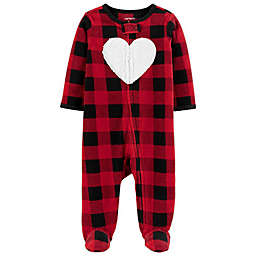 carter's® Preemie Heart Plaid Zip-Front Microfleece Sleep & Play Footed Pajama in Red