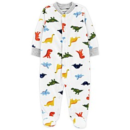 carter's Preemie Dinosaurs Snap-Up Microfleece Sleep & Play Footed Pajama in Ivory