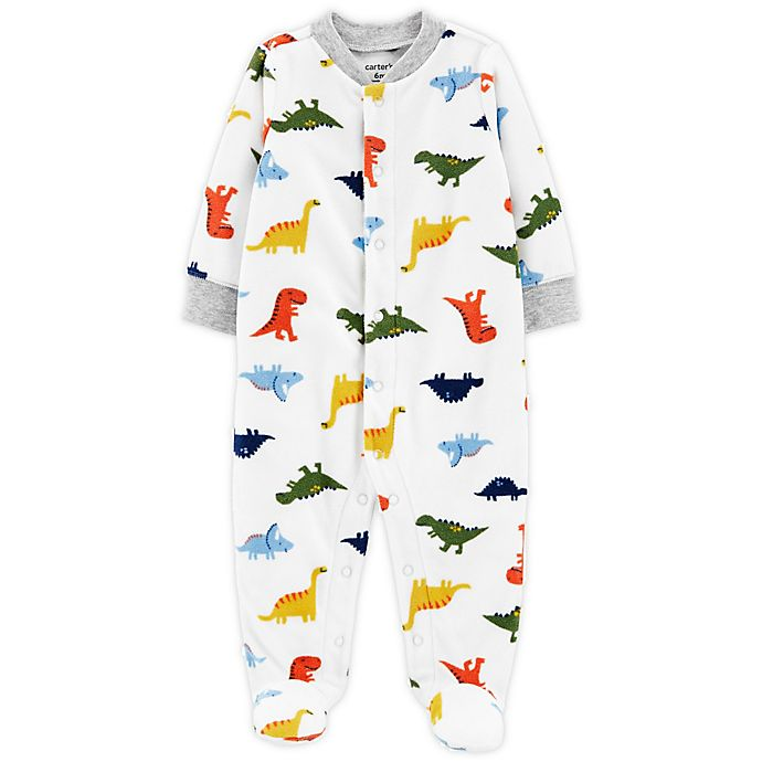 Alternate image 1 for carter's Preemie Dinosaurs Snap-Up Microfleece Sleep & Play Footed Pajama in Ivory