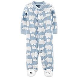 carter's® Preemie Bears Snap-Up Microfleece Sleep & Play Footed Pajama in Blue