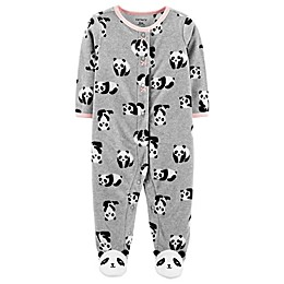 carter's® Panda Micro-Fleece Snap-Up Footie in Heather Grey