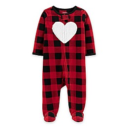 carter's® Buffalo Hearts Zip-Front Footie in Red