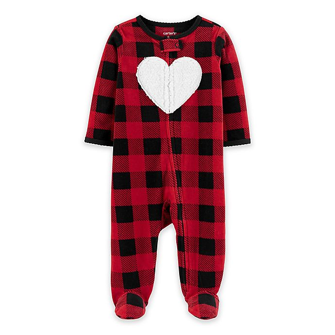 Alternate image 1 for carter's® Buffalo Hearts Zip-Front Footie in Red