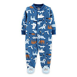 carter's® Walrus Micro-Fleece Snap-Up Footie in Blue