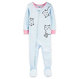 carter's® Stripe Cats Toddler 1-Piece Cotton Footie PJs