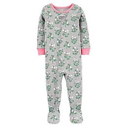 carter's® Floral Toddler 1-Piece Cotton Footie PJs