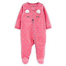 carter's® Bear Face Zip-Front Footie in Pink