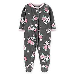 carter's® Floral Micro-Fleece Snap-Up Footie in Grey
