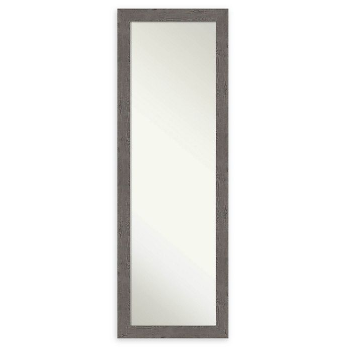 Alternate image 1 for Amanti Art Rustic Plank Narrow 17-Inch x 51-Inch Framed On the Door Mirror in Grey