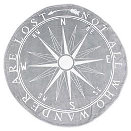 Wander Compass Fleece Round Throw Blanket in Silver