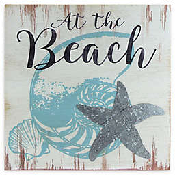 """Northlight """"At the Beach"""" 8-Inch Square Distressed Wooden Wall Plaque"""