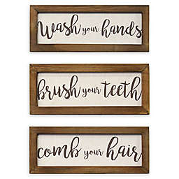 Stratton Home Décor Bathroom Rules Wall Art (Set of 3)