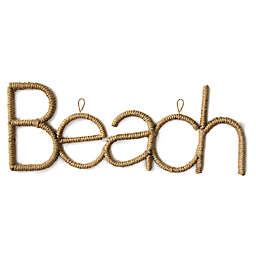 Stratton Home Décor 31.75-Inch x 12-Inch Rope Beach Sign Wall Art in Brown