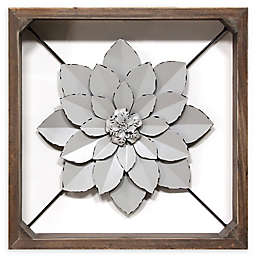 Stratton Home Décor Metal Flower 15.75-Inch Square Framed Wall Art