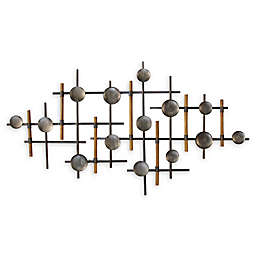 Stratton Home Décor Metal and Wood 39.37-Inch x 23.62-Inch Wall Sculpture
