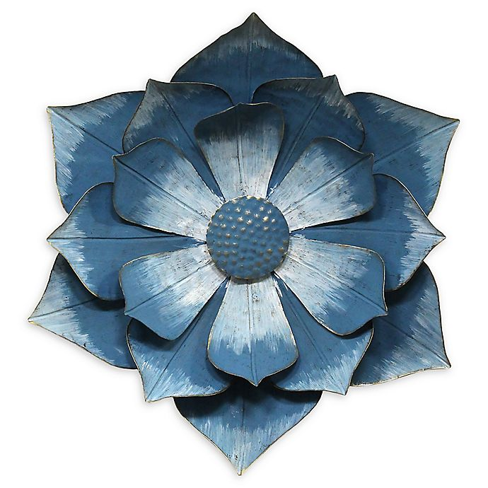 Stratton Home D Eacute Cor Ipomoea Metal Flower 17 32 Inch X 19 6 Inch Wall Art In Blue Bed Bath Beyond