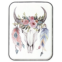 Stratton Home Décor Boho Cow Skull 12-Inch x 16-Inch Metal Wall Art