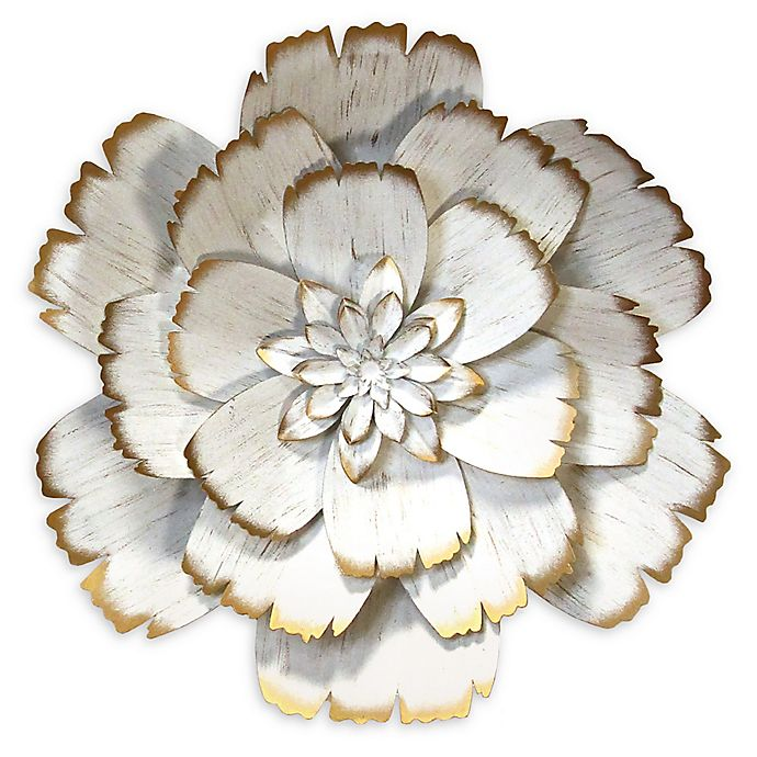 Alternate image 1 for Stratton Home Décor 19-Inch Round Metal Flower Wall Art in White