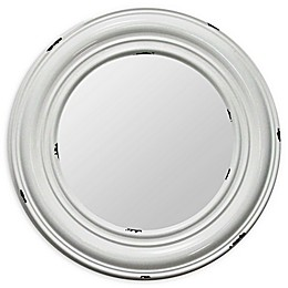 Stratton Home Décor Priscilla 24.75-Inch Round Wall Mirror in White