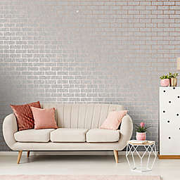 Milan Textured Brick Non-Woven Vinyl Wallpaper in Rose Gold/Grey